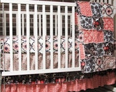 Baby Bedding, rag crib quilt,  fitted sheet and 3 tier ruffled skirt, Charcoal and Spice, Girl, , READY to ship
