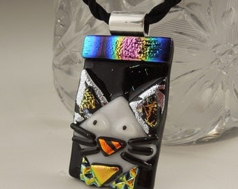 Cat Pendant, Dichroic Fused Glass Jewelry, Kitty Necklace, Cat Jewelry, Feline, Animal  X4468