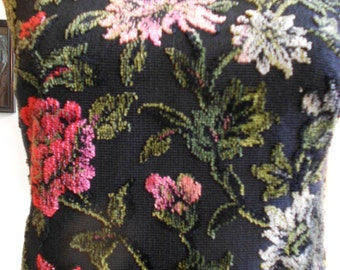 """1960's, 34"""" bust, black heavy faille cotton dress with velour embossed large mums of red, pink, and brown, with green and brown leaves"""