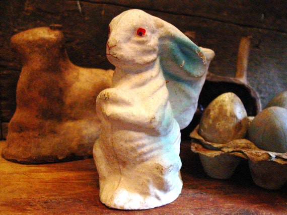 Vintage Paper Mache Easter Bunny With Basket Pulp Rabbit Candy