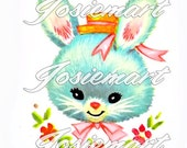 Vintage Digital Download Bunny Kawaii Vintage Image Collage Large JPG