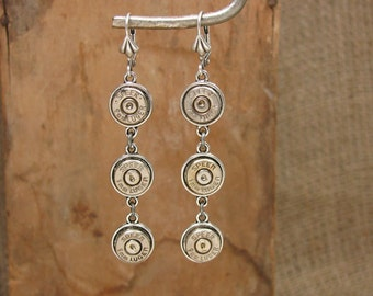 Bullet Casing Jewelry - Triple 9mm Dangle Earrings - Triple Threat - Bullet Bling - SureShot Bullet Designs - Crystals Optional