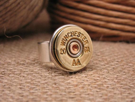Shotgun Casing Jewelry - Bullet Jewelry - Bullet Ring - 20 Gauge Shotgun Casing Statement Ring
