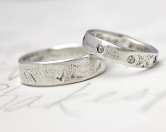 his hers wedding ring band set . sapphire eternity band . rustic recycled silver wedding rings . custom mens womens unique ring set