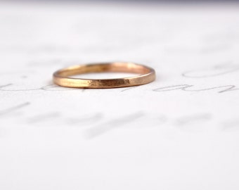 solid 14k rose gold womens wedding band . thin skinny gold stacking ring . unique ethical gold wedding band by peacesofindigo