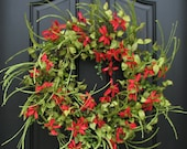 SUMMER Wreath, Red Daisy Wreath, SUMMER Front Door Wreath, Door Wreaths for Summer, Handmade Wreaths for Summer, Etsy Wreaths, Wreaths