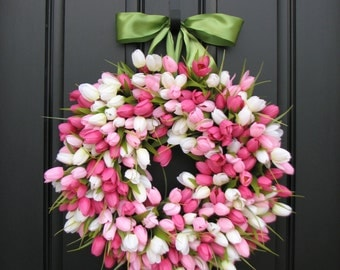 Spring Tulip Wreath, Front Door Wreath, Door Wreaths, Mother's Day Wreath,  Easter Wreaths,  Easter Tulips Trending Wreaths