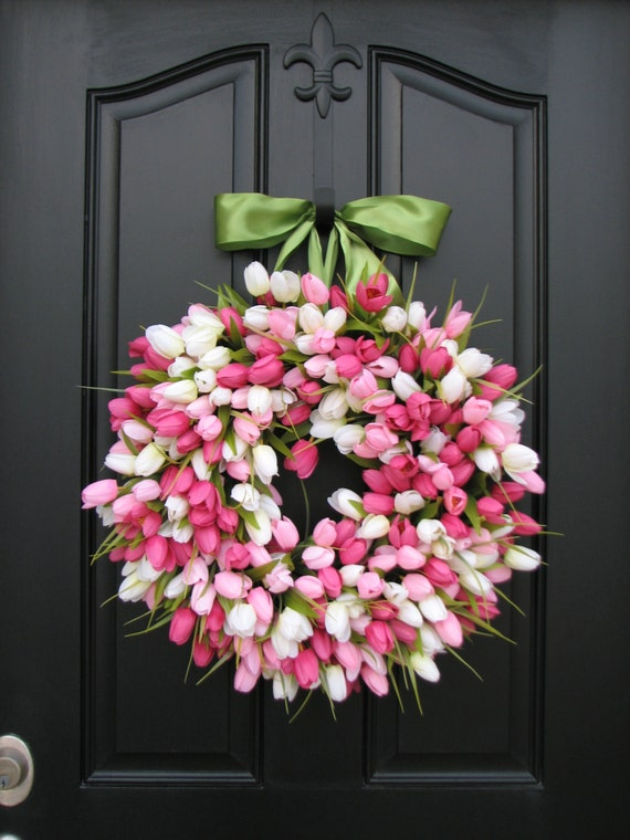 Spring Tulip Wreath Front Door Wreath Door Wreaths