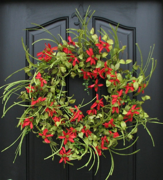 front door decor summerSUMMER Wreath Red Daisy Wreath SUMMER Front Door Wreath