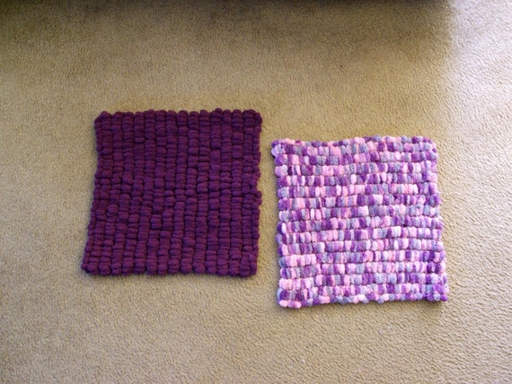 Hand Knitted - Purple and Gray Pom Baby Blanket