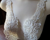 SALE Lace Applique  Pair in Ivory for Bridal, Straps, Collars, Garments, Costume Design PR 72