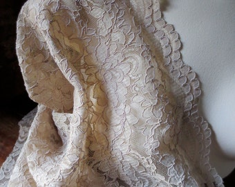 SALE Champagne Latte Lace Alencon Lace for Brides, Mother of the Bride, Skirts, Costumes