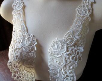 SALE Ivory Lace Applique  Pair for Bridal, Straps, Collars, Garments, Costume Design PR 72
