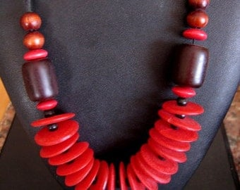 RED Plastic Rings and Round Beads on Cord Necklace FUN and CASUAL