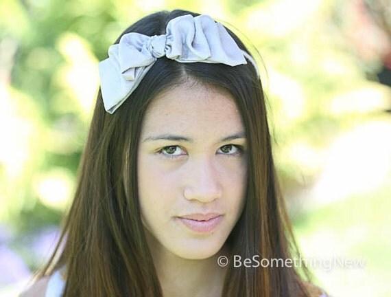 Holiday Bow Headband Tucked Silver Gray Bow Headband for Adults and Teens Hair Accessory