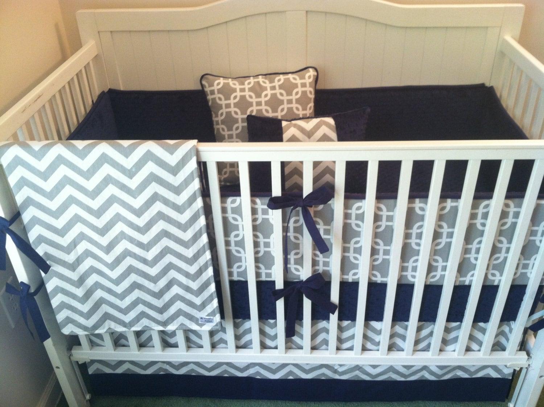 Crib Bedding Set Gray White Navy Blue