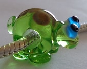 Handcrafted Artisan Lampwork Critter Glass Euro Charm Bead Turtle