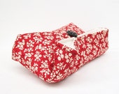 Ivory Black and Red Clutch, Floral Clutch, Red Bridesmaid Gift, Bridesmaid Clutch, Makeup Bag, Wedding Accessory, Bridal Accessory