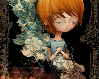 "ACEO ATC Artists Trading Card Fine Art Print - 'Flynn' - Little Redhead Boy and Flowers Mini 2.5x3.5"" Giclee Print"