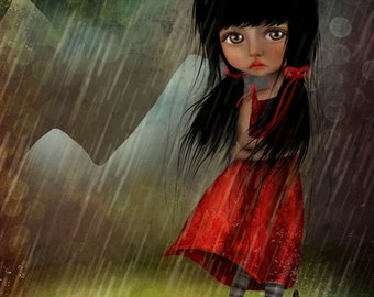 Fine Art Print - 'The Storm' - Little Dark Haired Girl with Black Cats in Rainstorm - 11x17 or 13x19 Large Giclee Print