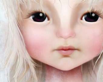 5x7 Art Print - 'Darkheart' - Premium Giclee Fine Art Print Small Sized - Little Girl with Dark Eyes