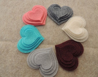 48 Felt Die Cut Heart Pieces (Style H13) Turquoise, Cotton Candy, Charcoal Grey, Ivory, Cranapple , Grey