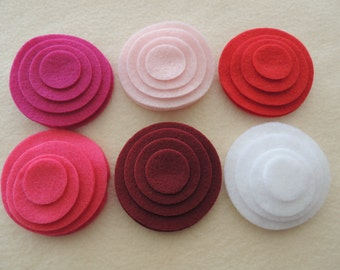 48 Felt Die Cut Circle Pieces (Style C8)Fuchsia, Baby Pink, White, Red, Ruby, Shocking Pink