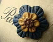 Flower Ceramic Brooch, Denim Ash glaze, ceramic jewelry, funky chunky, handcarved, handmade