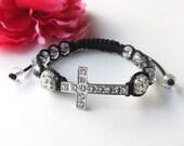 sideways cross bracelet- sideway cross and crystals bracelet with rhinestones - arm candy - friendship bracelet - cross jewelry