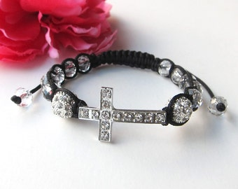 sideways cross bracelet- sideway cross and crystals bracelet with rhinestones - arm candy - friendship bracelet - cross jewelry