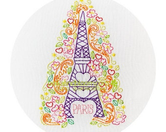 Embroidery Pattern Paris Spring - Eiffel Tower - PDF
