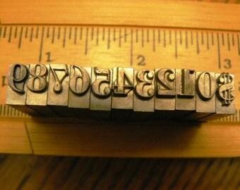 vintage letterpress ... PRINTERS TYPEFACE NUMERIC 0 to 9 plus 1 Grp B 1 is 11 pce