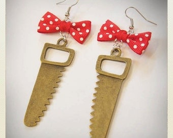 Retro Pin up style Saw earrings, red bow