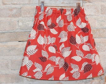 Modern A-line Skirt - Red Vintage Floral Cotton Fabric - toddler girls clothing - kids spring summer fashion - sizes 2T 3T 4 5 6 7 8