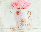 Three for TEA Photograph Vintage Teacups Pink Flower Cottage Decor Pastel Shabby Chic