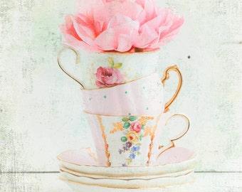 Three for TEA Photograph Vintage Teacups Pink Flower Cottage Decor Pastel Shabby Chic