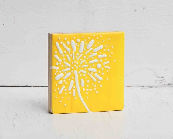 Dandelion Yellow Original Encaustic Mini Painting Sunny