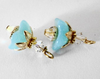 Opal Bell Flowers Charms pendants earrings dangles blue gold bead caps Free Shipping