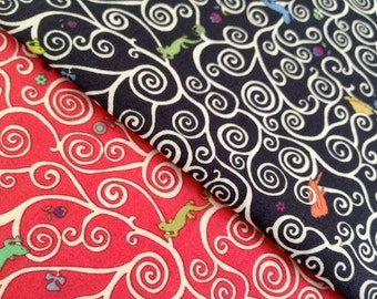 Gustav and Otto - liberty of london fabric - black or red - mini set of 2