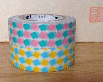 SALE mt washi masking tape - squares - pink and yellow