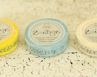 zwillinge - washi paper masking tape - set of 3 - morike and hoffmann - calligraphy script
