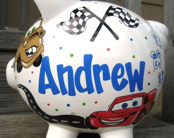 Large-Custom Cars Personalized Piggy Bank