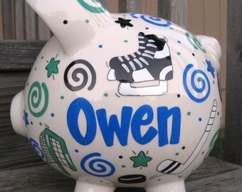 Large Hockey Fund Piggy Bank- Personalized Blue and Green