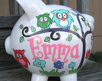 Owls in a Tree Personalized Piggy Bank-Large