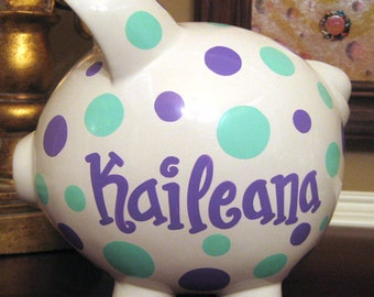 Custom Polka Dot Large Piggy Bank Purple and Turquoise