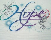 Completed Cross Stitch HOPE Sampler, Christian Art, Ombre Needlework, Beaded Embroidery, Handstitched, Inspirational, Dove