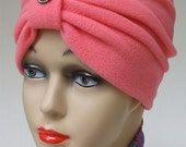 Coral Micro Fleece Turban, New Lower Price, Bright and Warm Classic with Vintage Pearl Accents, S, XS