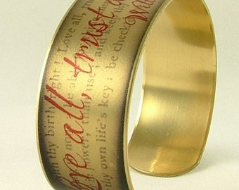 William Shakespeare Jewelry - Love All Trust A Few Literary Quote - Shakespeare Quote SLIM Brass Cuff Bracelet