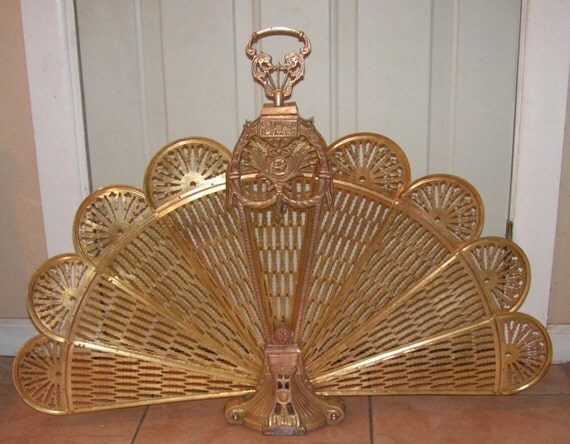 items similar to antique brass peacock fireplace screen