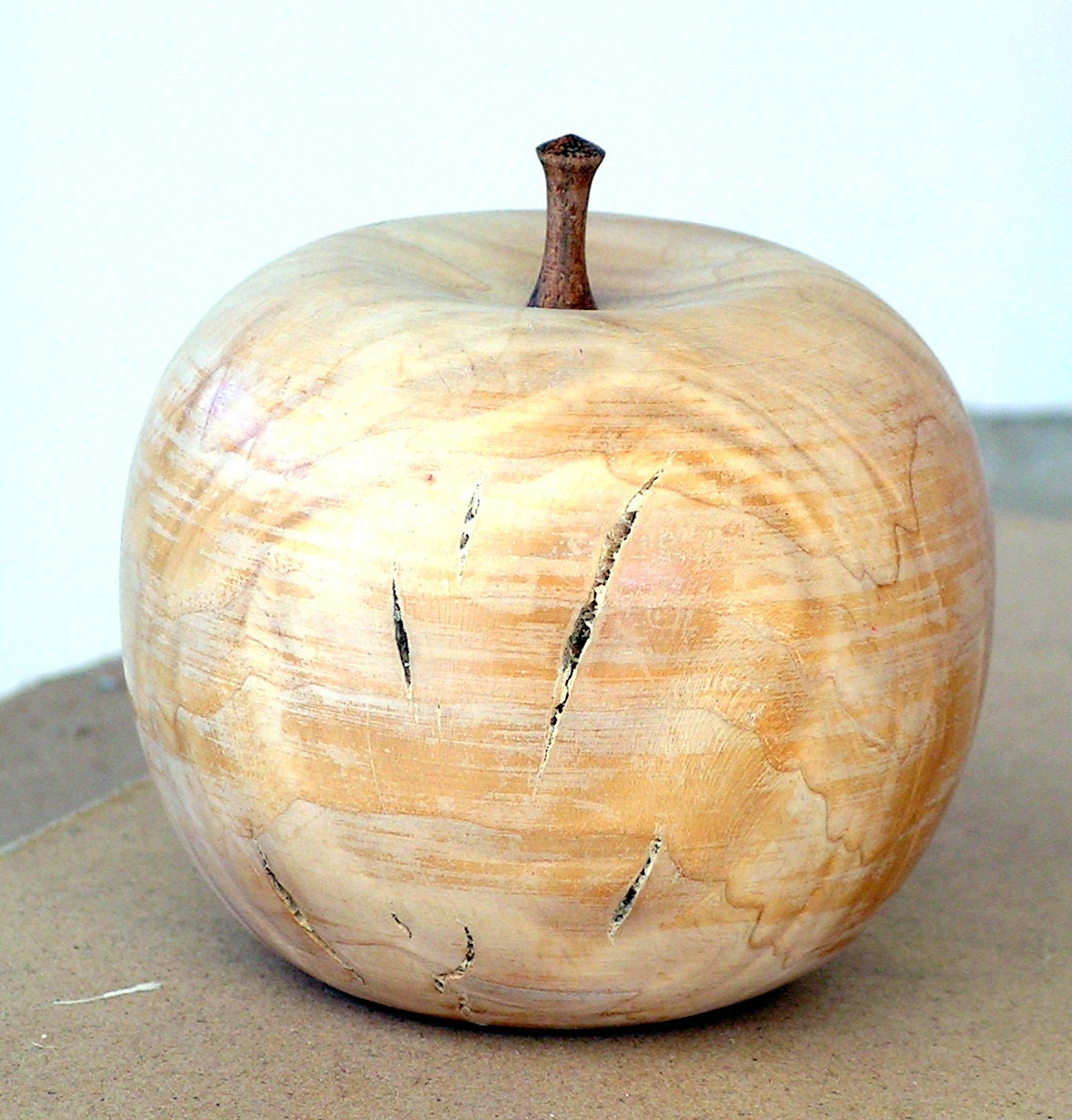Wood turned apple carved wooden fruit rustic by retrosideshow